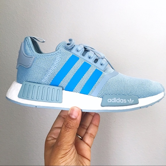 best cheap 294e2 14966 Adidas NMD R1 Blue Grey Shoes NWT